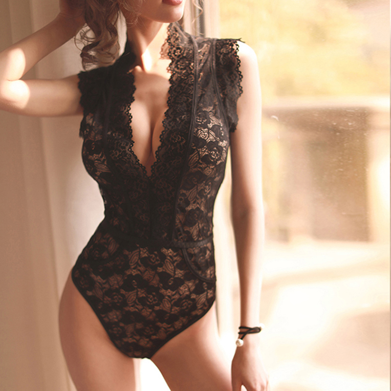 hoyyezen new woman sexy lace perspective deep V lace shoulder underwear one piece pajamas sleepwear