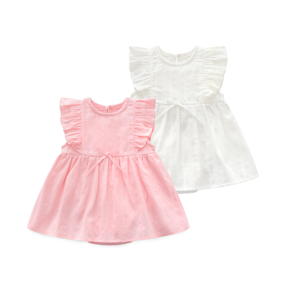 Ruffles Summer Newborn Baby Girls Dress Cotton Lace Party Birthday 1 Year Dresses Princess Baby Girl Clothes White Pink