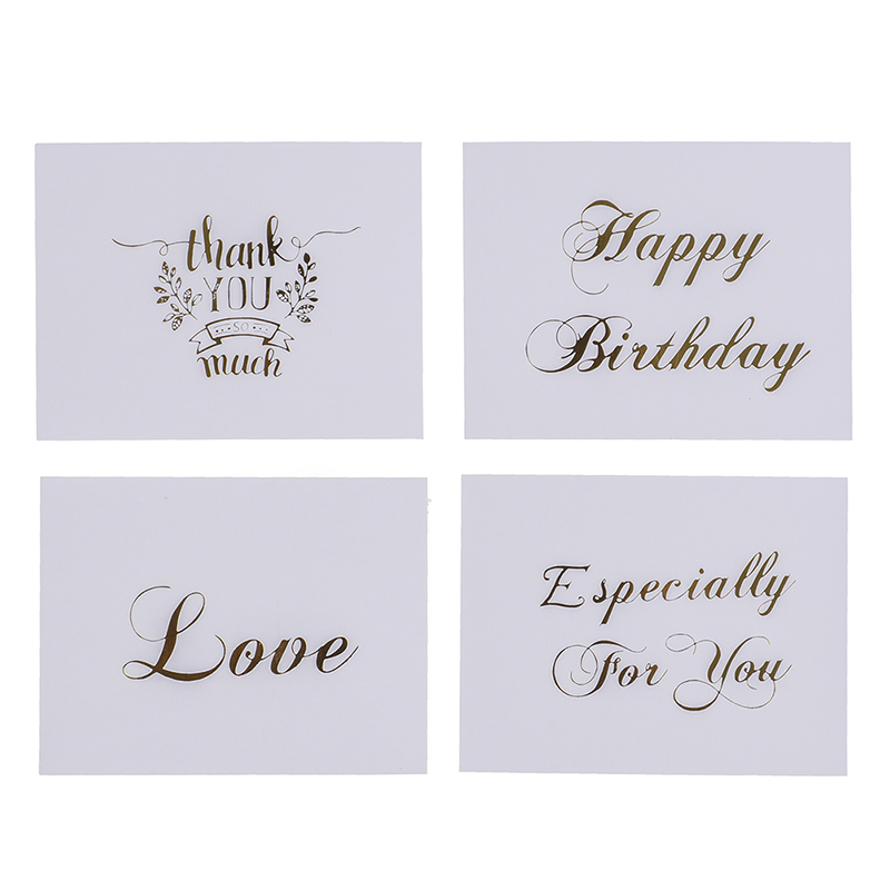 Thank You Letter For Wedding Invitation: 10pcs Letter Greeting Cards Mini Gold Embossed Thank You