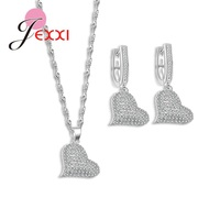 JEXXI 925 Sterling Silver Wedding Jewelry Sets For Brides Heart Shape Full Clear Micro Pendant Necklace