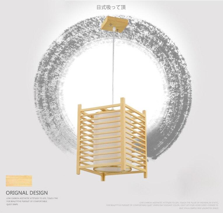 Japanese Tatami Style LED Wood Pendant Lights, Square block Acrylic Sheepskin lamp shade Luminaire Droplight For Home Lighting