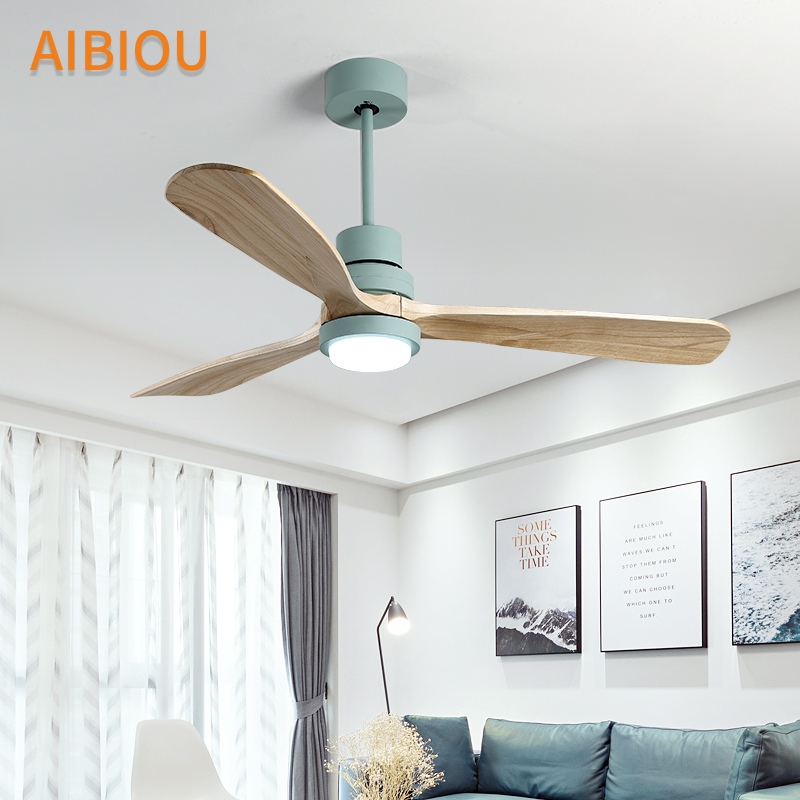 AIBIOU Nordic Style Led Ceiling Fan With Lights Remote Control 220V Ceiling  Fans For Living Room Dining Room Wood Fan Lighting In Ceiling Fans From  Lights ...