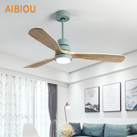 AIBIOU Nordic Style Led Ceiling Fan With Lights Remote Control 220V Ceiling Fans For Living Room Dining Room Wood Fan Lighting