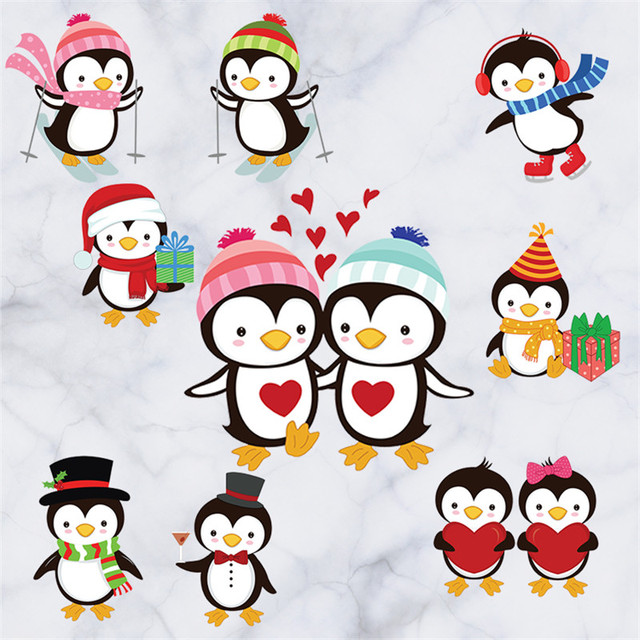 Stay meng penguin couple cartoon children room wallpaper kindergarten bedroom decoration wall stickers christmas mural