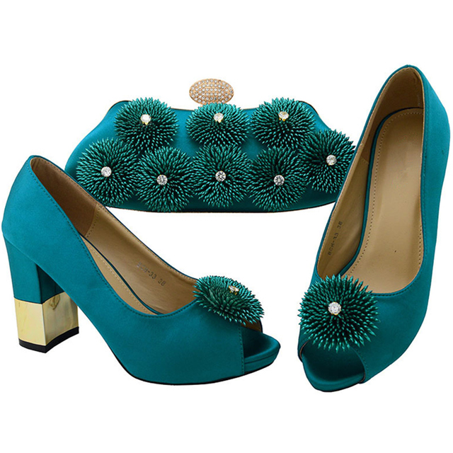 21155e8f895 Latest Teal Color Italian Shoes and Bags To Match Shoes with Bag Set  Rhinestone Wedding Shoes Matching Women Shoes and Bag Set