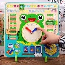 Деревянные детские время когнитивные игрушки Обучающие школьные часы календарь погода обучающая доска игрушка познание Монтессори подарки