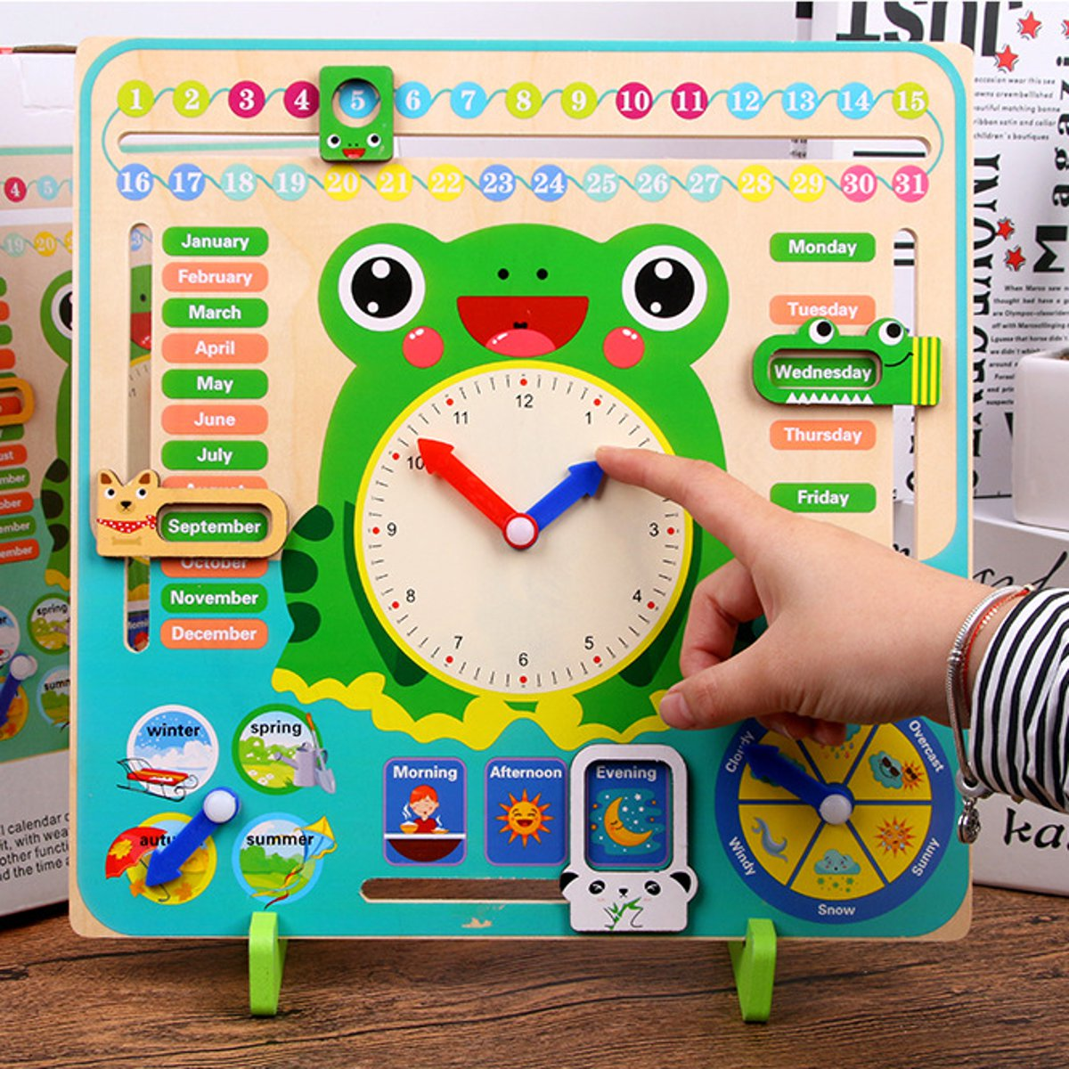 Wooden Children Time Cognitive Toys Educational School Calendar Clock Weather Learning Board Toy Cognition Montessori Gifts