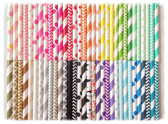 Best price for 40packs 1000 pcs Themed Paper Straws you can Choose colors from more 400