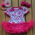 China hizo 2015 verano infantil 100% algodón mameluco del bebé con manga corta estampado de flores niña ropa de moda trajes nacidos