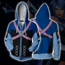 Anime Kingdom Hearts Akua Cosplay Costumes Zipper Hoodies Sweatshirts 3D Printing Unisex Adult women Clothing