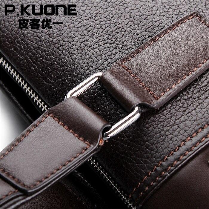 Bolsos de moda para hombre P. kuone vintage maletín de cuero genuino marrón bolsos de hombro de negocios maletín de alta calidad para ordenador portátil - 6