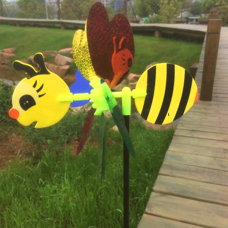 Bee Windmill Lawn Garden 3D Color Random Pinwheel Lovely Decor Plastic Wind Spinner Outdoor Insect Beautiful Whirligig Yard Toy