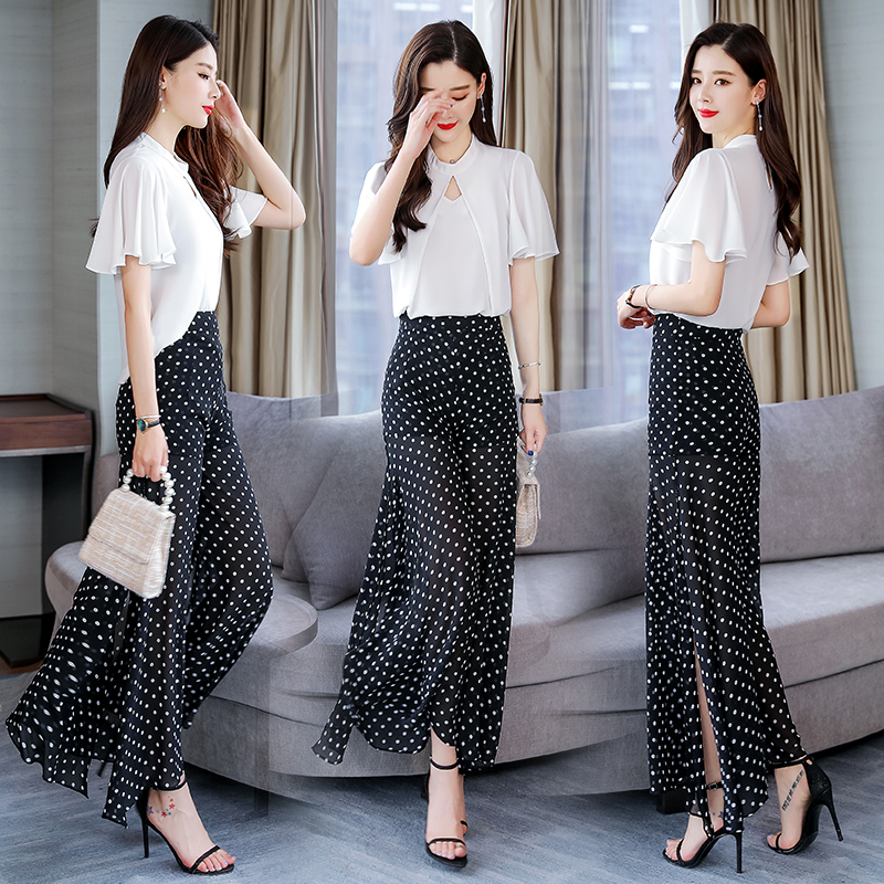 2019 Summer Two Pieces dot suits Elegant short sleeve Blouse shirt tops and Wide Leg Pant