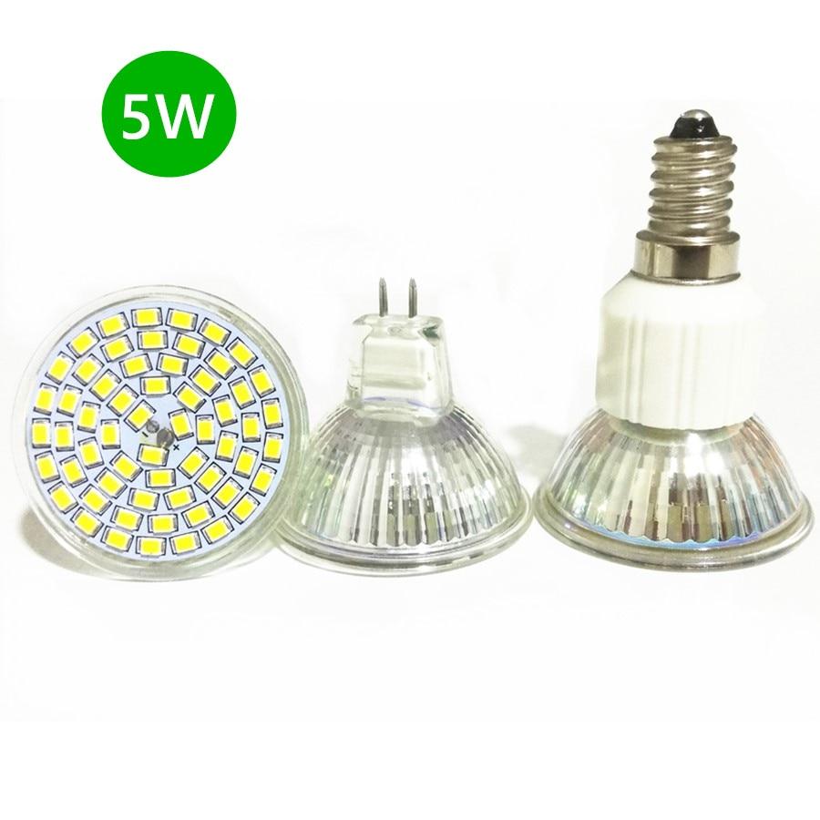 No Flicker 5W 3528 SMD GU10 G5.3 E14 MR16 LED Lamp 220V 12V 2835 LED Corn Bulb Spotlight Energy Saving Lamp Glass Shell Light