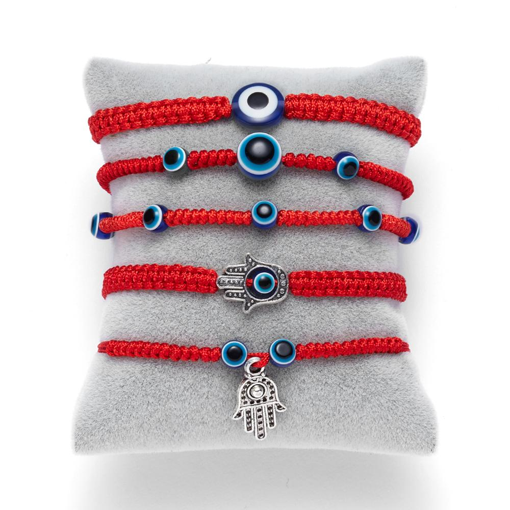Simple Handmade Braided Lucky Red String Charm Bracelet Women Men Turkish Blue Evil Eye Beads Bracelet Trend Friendship Jewelry