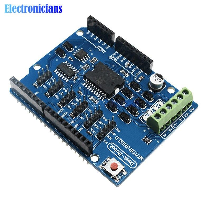 Модуль драйвера двигателя постоянного тока L298P Shield R3, 2А h-мост, 2-полосный 5 В до 12 В для Arduino UNO 2560 NW