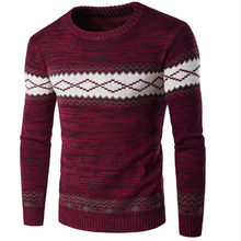 New Arrival Casual Computer Knitted Mens Sweater O-neck Full Pullovers Standard Print Coarse Wool Regular Pattern Sweaters
