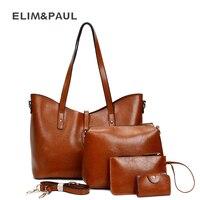 ELIM PAUL Shoulder Bags Sets Fashion PU Leather Composite Messenger Bag Women S Bag Female Crossbody