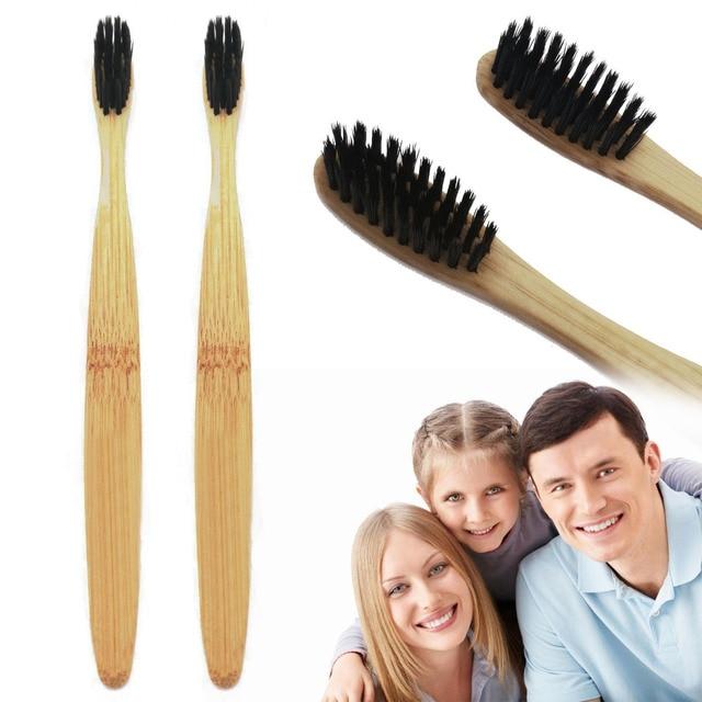 Cepillo de dientes de protección ambiental Natural con mango de bambú ecológico Natural suave negro Delgado estilo cepillo de dientes limpieza de boca