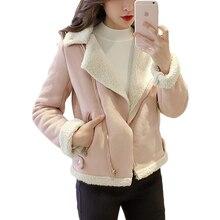 Fashion Lamb jackets and Coats Women Cool Zipper Plus Velvet