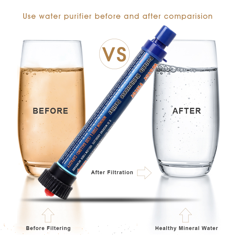 Atic Portable Water Filter Straw Outdoor Camping Hiking Survival Water Purifier