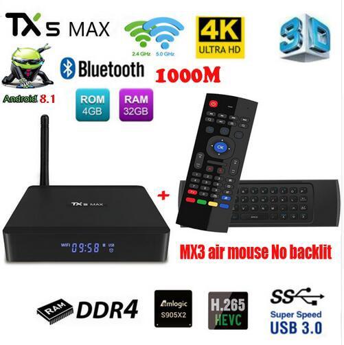 TX5 MAX DDR4 4 GB RAM 32 GB ROM 2,4G 5G WiFi 1000 M LAN Bluetooth Android 8,1 TV caja Amlogic S905X2 Quad Core 4 K HD caja inteligente - 2