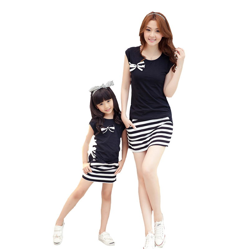 Mother Daughter Dresses Matching Outfit Striped Family ...