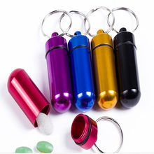 Aluminum Pill Bottle key Chain Waterproof Travelling Gallipot Cases Keychain Portable Medication Box Case Drug Holder Key Rings(China)