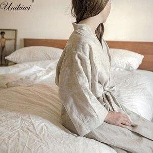 Image 1 - UNIKIWI.Women Sleepwear Robes Linen Pajamas.breathable Shower Spa Linen Robe Night Bathrobes Sleep Nightgown Robe Dressing Gown