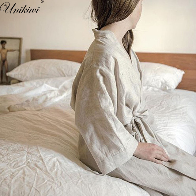 UNIKIWI.Women Sleepwear Robes Linen Pajamas.breathable Shower Spa Linen Robe Night Bathrobes Sleep Nightgown Robe Dressing Gown