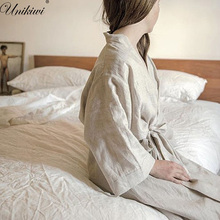 UNIKIWI batas de lino para dormir para mujer, ropa de baño de lino, para ducha, Spa, albornoz de noche, bata de dormir