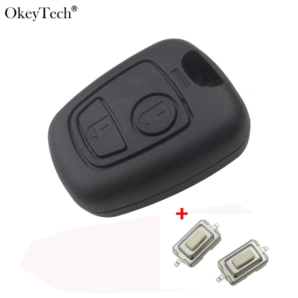OkeyTech Replacement Remote Car Key Shell Case Fob & 2 Micro Switch For Peugeot 206 407 307 Not Include Key Blade