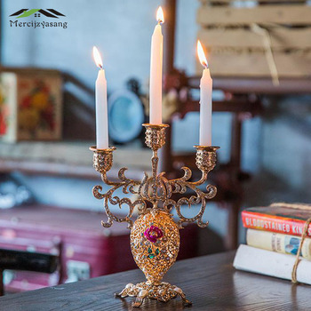 2Pcs/Lot Candle Holder Metal Candlestick 3-arms Geometric Table Candle Holders for Wedding/Dinner Decoration Candelabra GZT063