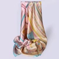 88x88cm Square 100% Pure Silk Scarves Stoles 2019 New Women Bandana Floral Silk Head Scarves Print Summer Beach Stoles Pure Silk