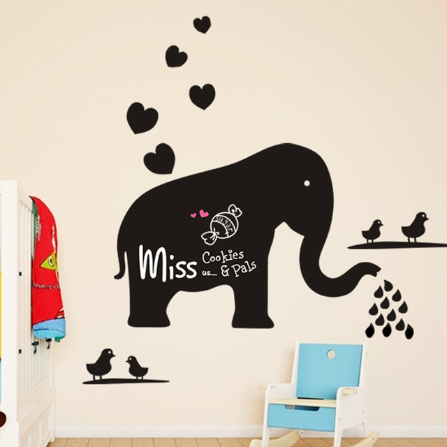 Cute Elephant Chalk Board Removable Wall Stickers Vinyl Draw Decor Mural  For Kids Room Nursery Home