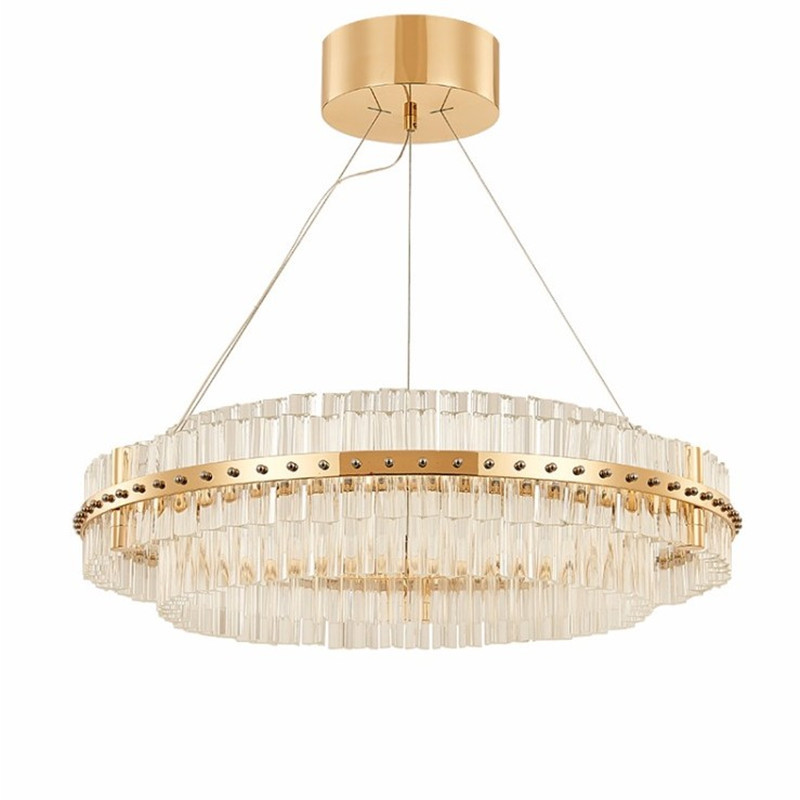 European Luxury Crystal Pendant Chandelier Led Lamp Post Modern Round Stripe Creative Lighting Fixture In Lights From On