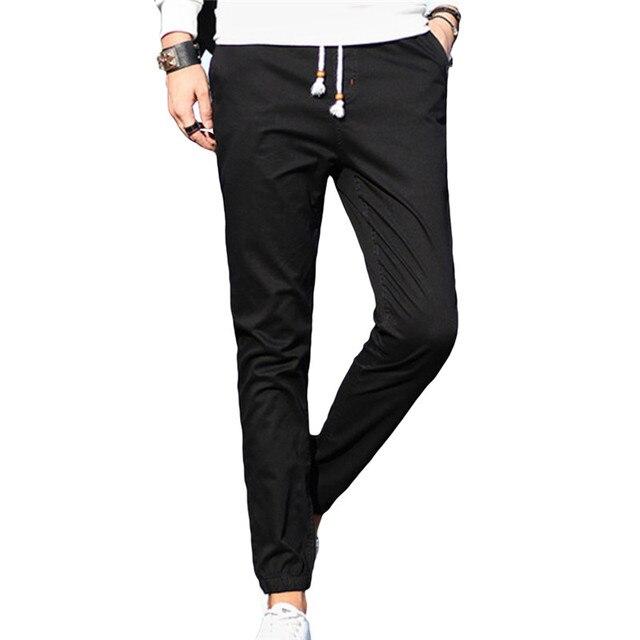Мода Осень Мужские Штаны Slim Fit Mid Талии Прямые Брюки Мужчины Причинные Брюки Длина Лодыжки Капри Pantalon Homme