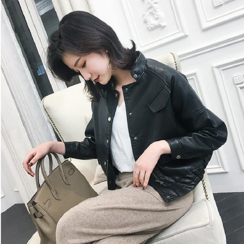 2019 New Autumn Women PU   Leather   Jacket Faux Soft   Leather   Coat Slim Black Rivet Zipper Motorcycle Jackets Lady Basic Coat