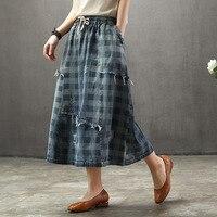 8906 summer women long denim skirt female elastic waist large size skirts girl