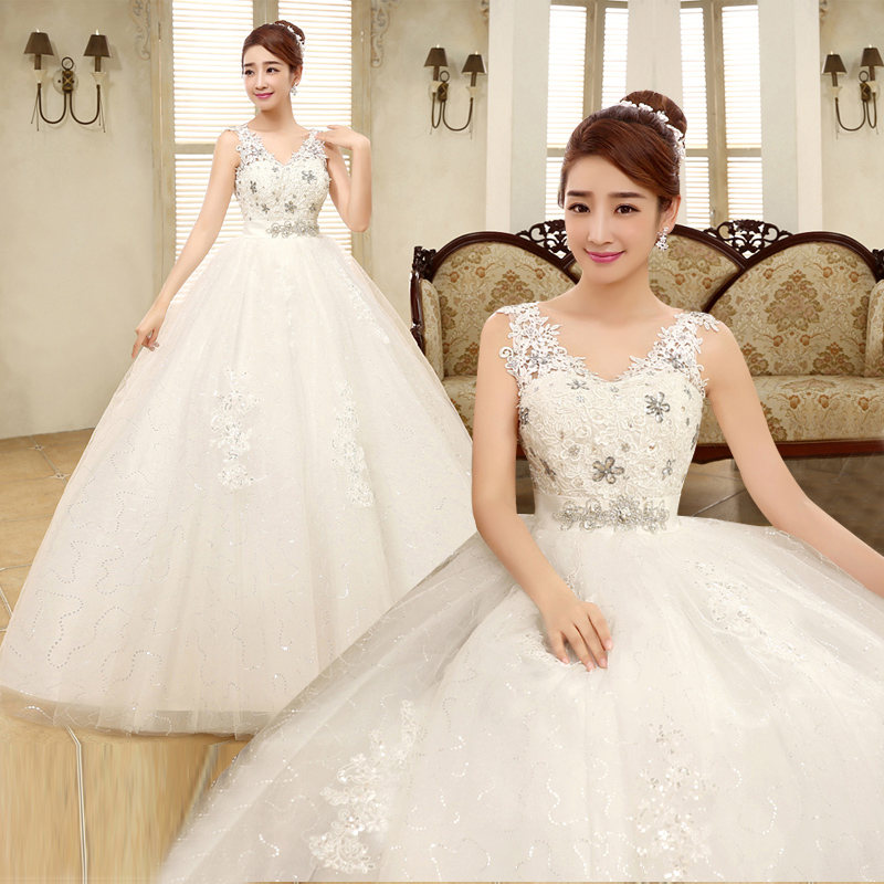 2017 New Stock Plus Size Women Pregnant Bridal Gown Wedding Dress Deep V Neck Lace White Ball Gown Long Sexy Bling Diamond 5432