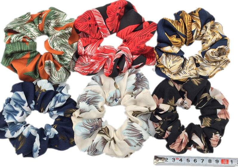 6 шт/лот Бархатные эластичные резинки для волос, резинки для волос для девочек, не складываются, леопардовые женские большие мелкие блестки из шифона с цветочным рисунком - Цвет: PJ088-6PCS