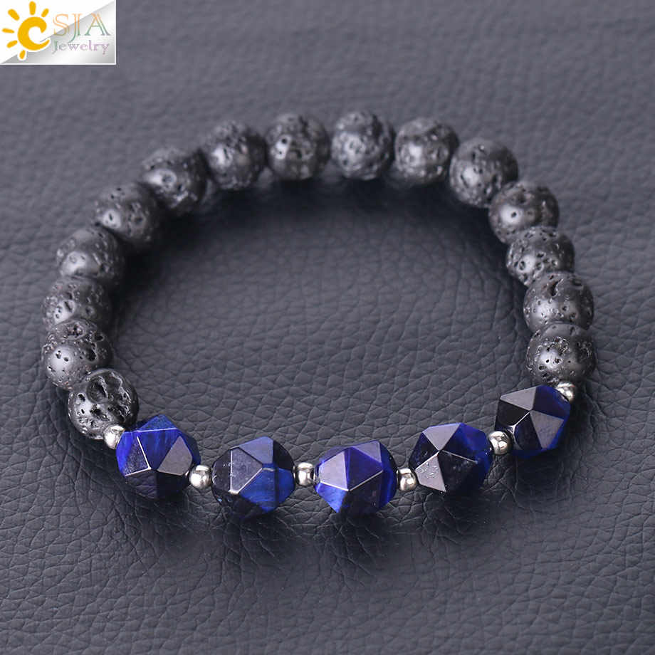CSJA jaune bleu or couleur œil de tigre & lave Rock Bracelet pierre naturelle à facettes perles chaud mode femmes hommes élastique Bracelet F338