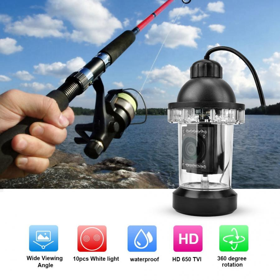 360 degrés rotation 650TVL HD LED caméra de pêche sous-marine couleur vidéo détecteur de poisson