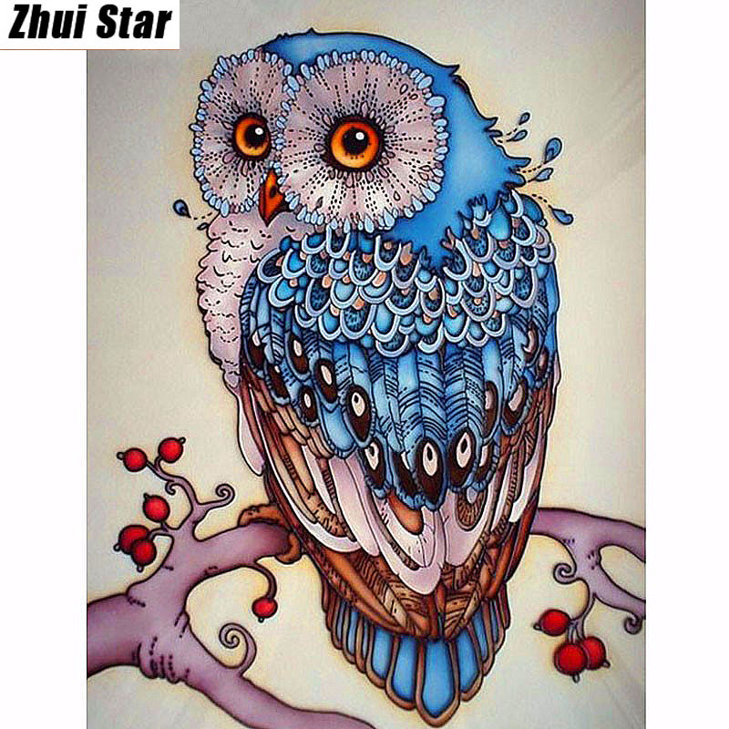 Bordado de diamantes, Animal, Búho, 5D, Pintura de diamante, Punto de cruz, 3D, Mosaico de diamantes, Costura, Manualidades, Navidad, Regalo ZS