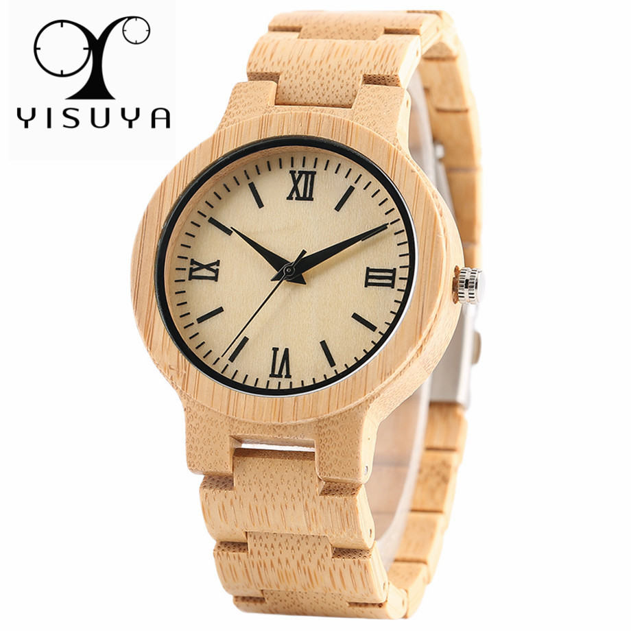 YISUYA Bamboo Wood Watch Men Modern Quartz Full Wooden Simple Women Watches Creative Bracelet 2019 New Analog Clock Best Gift