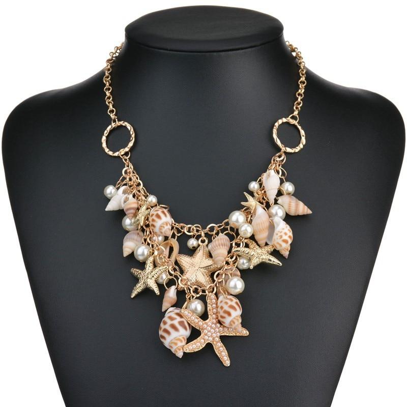 Ожерелье с ракушками, морскими звездами и искусственным жемчугом, милые модные многофункциональные ожерелья и подвески для женщин, свадебн...