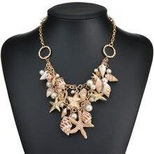 Conch colar e pingente de pérolas feminino, concha estrelada, simulado moderno, doce, estrela, mar, multicamadas, joias de casamento