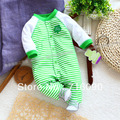 2014 recién llegado de ropa para bebés de primavera y otoño mamelucos del algodón del bebé recién nacido bebé ropa con rayas verdes