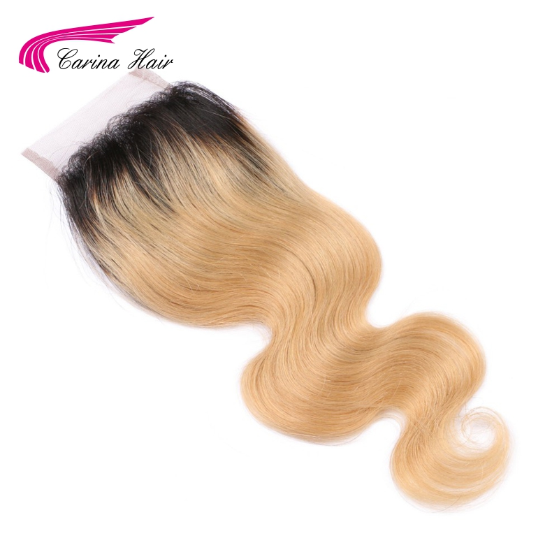 Carina kosa ombre 1b / 27 # 4 * 4 gornja čipka zatvaranje bjelilo - Ljudska kosa (za crnu)