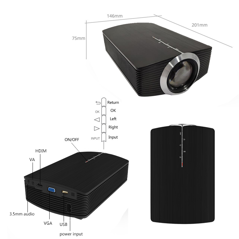 YG500 Mini projecteur 1080 P home cinéma 5.1 Portable 1800 Lumen projecteur LED Home cinéma USB HDMI 3D Beamer basse haut-parleur Projec - 5